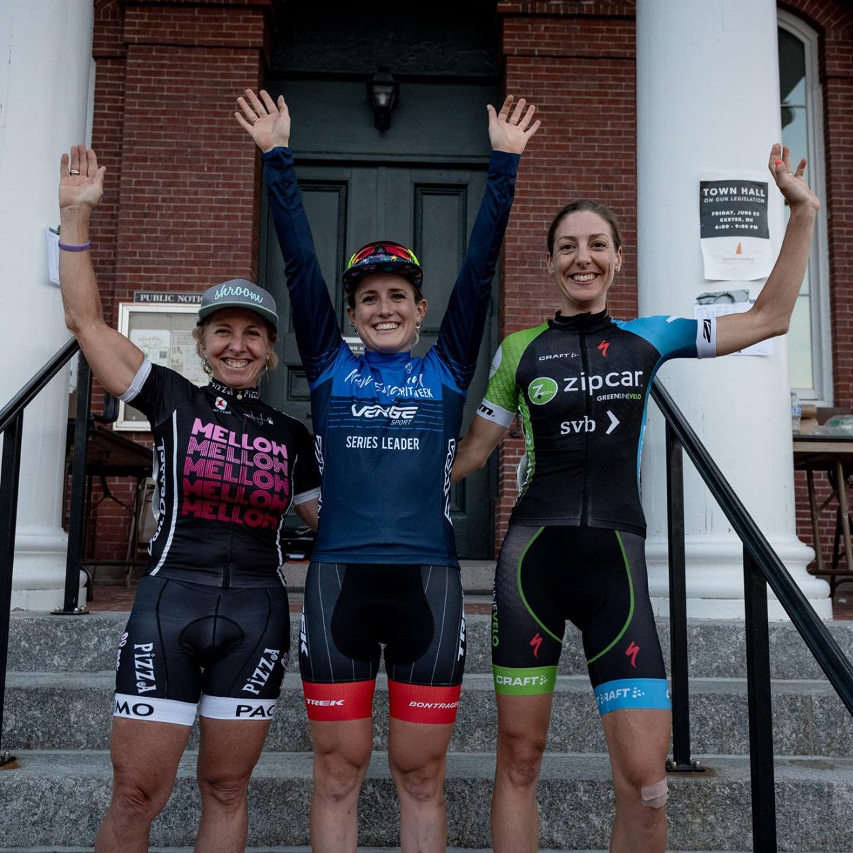 Laura Van Gilder (Mellow Mushroom/Van Dessel), Ellen Noble (Trek Factor Racing), Regina Legge (Green Line Velo)