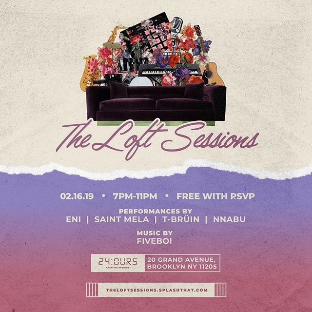 Our newest installation — The Loft Sessions is an intimate concert series that transcends genres. Taking place at 24:OURS Creative Studios — the lineup includes artists from New York, New Jersey, Atlanta and Nigeria. The event is free and open to all ages. Doors open at 7pm and the show begins at 8:00PM.  @Saint.Mela @IamEni_ @IamTbruin @Nnabu Sound by @Fiveboi  Ticket Link in Bio ✨