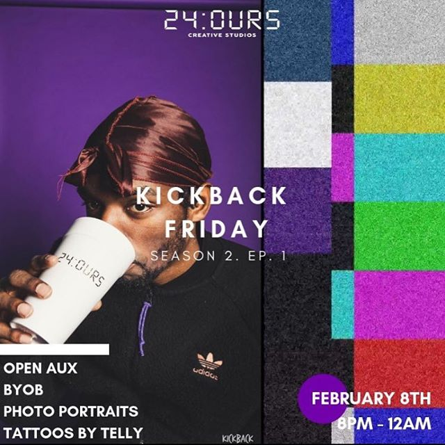 join us for our first Kickback of the year — this Friday 2/8  open aux  byob  a full fledge photo opp &  tattoos by @telly_tattoos  brought to you by @24ours.co 🔋⚡️