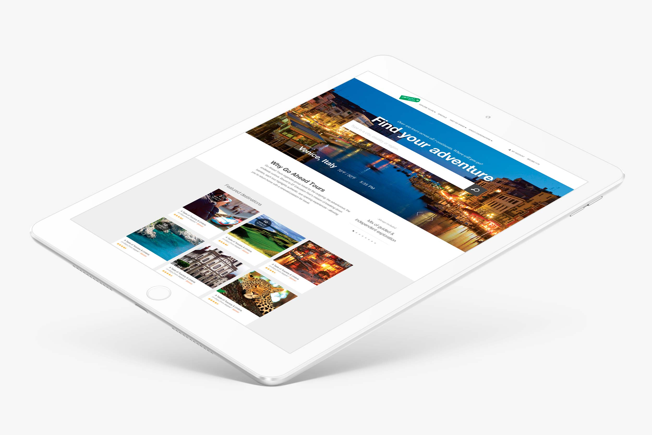 Website design for Go Ahead Tours