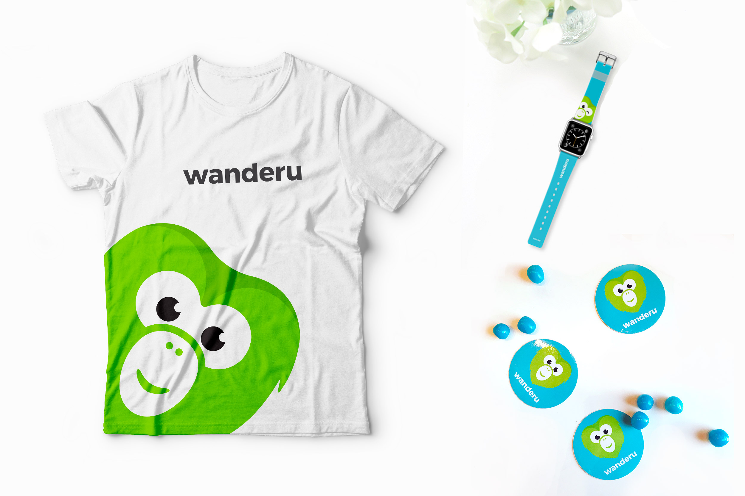 Wanderu brand identity design. T-shirt design, custom apple watch straps, and custom stickers.