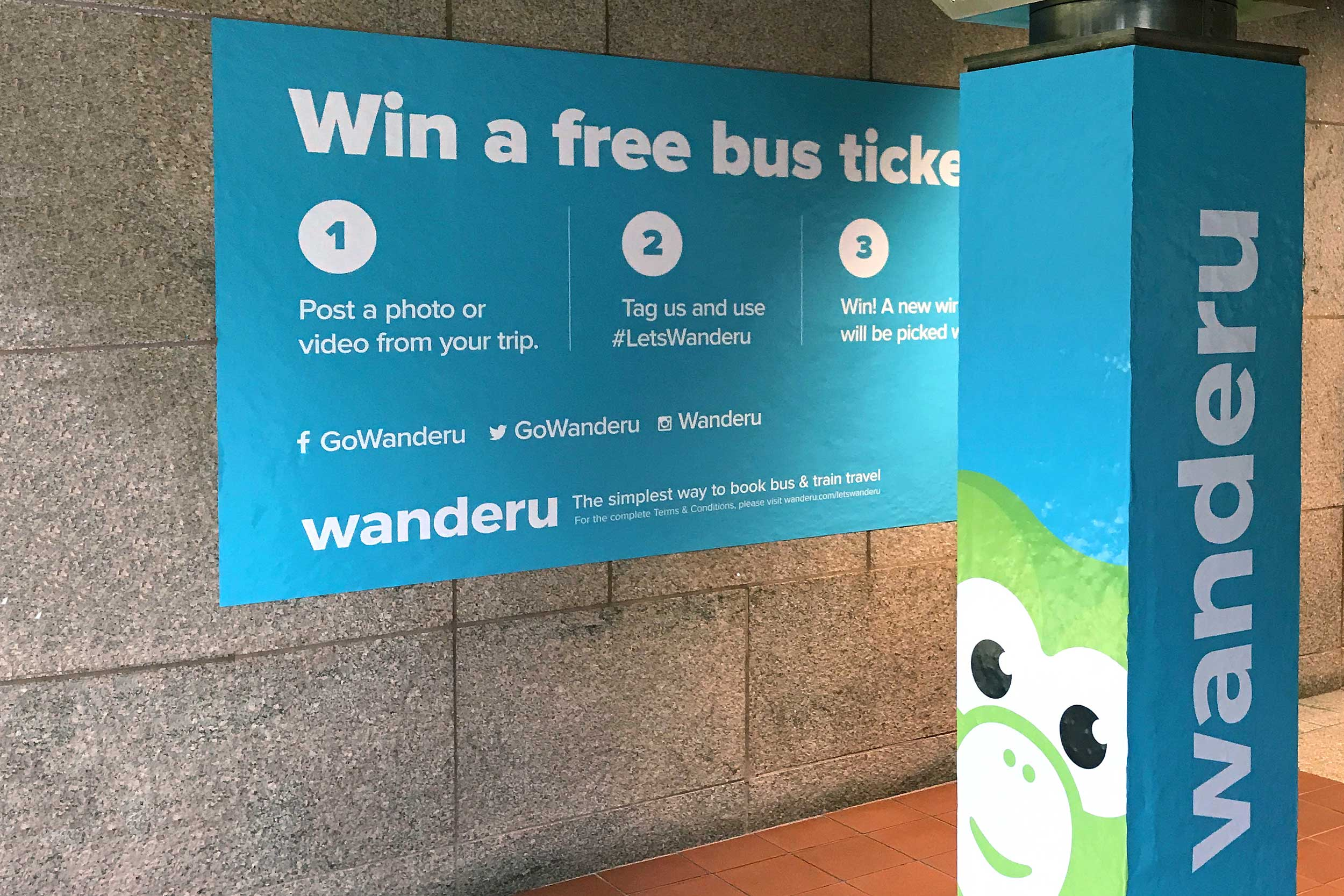 Wanderu South Station takeover campaign • column wrap