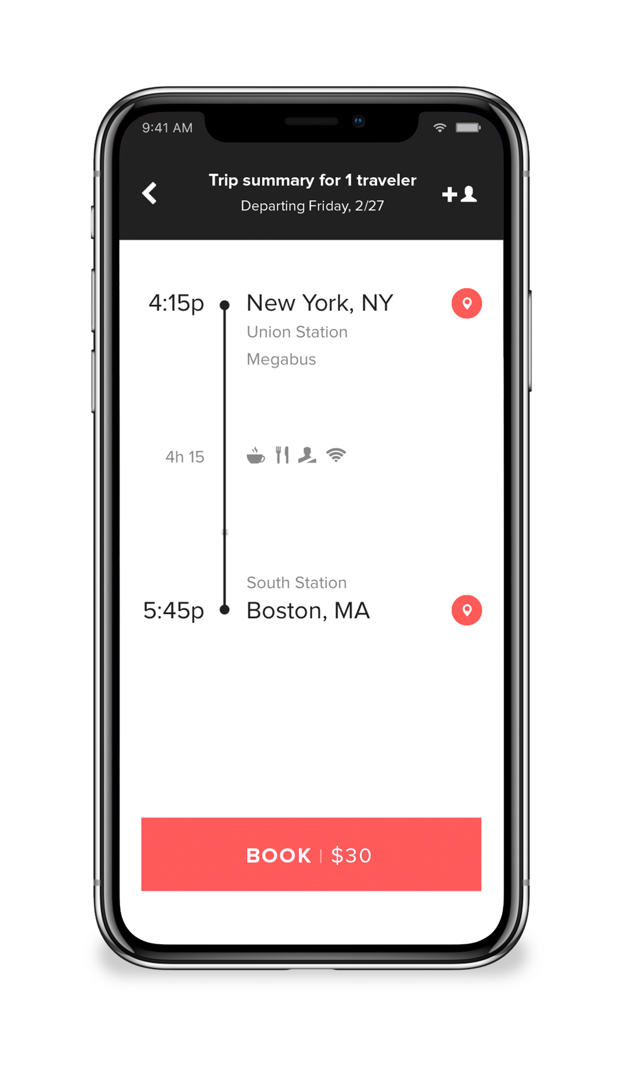 Trip summary - This screen gives the user detailed information about their trip including travel duration, amenities, station locations, directions and travel times.