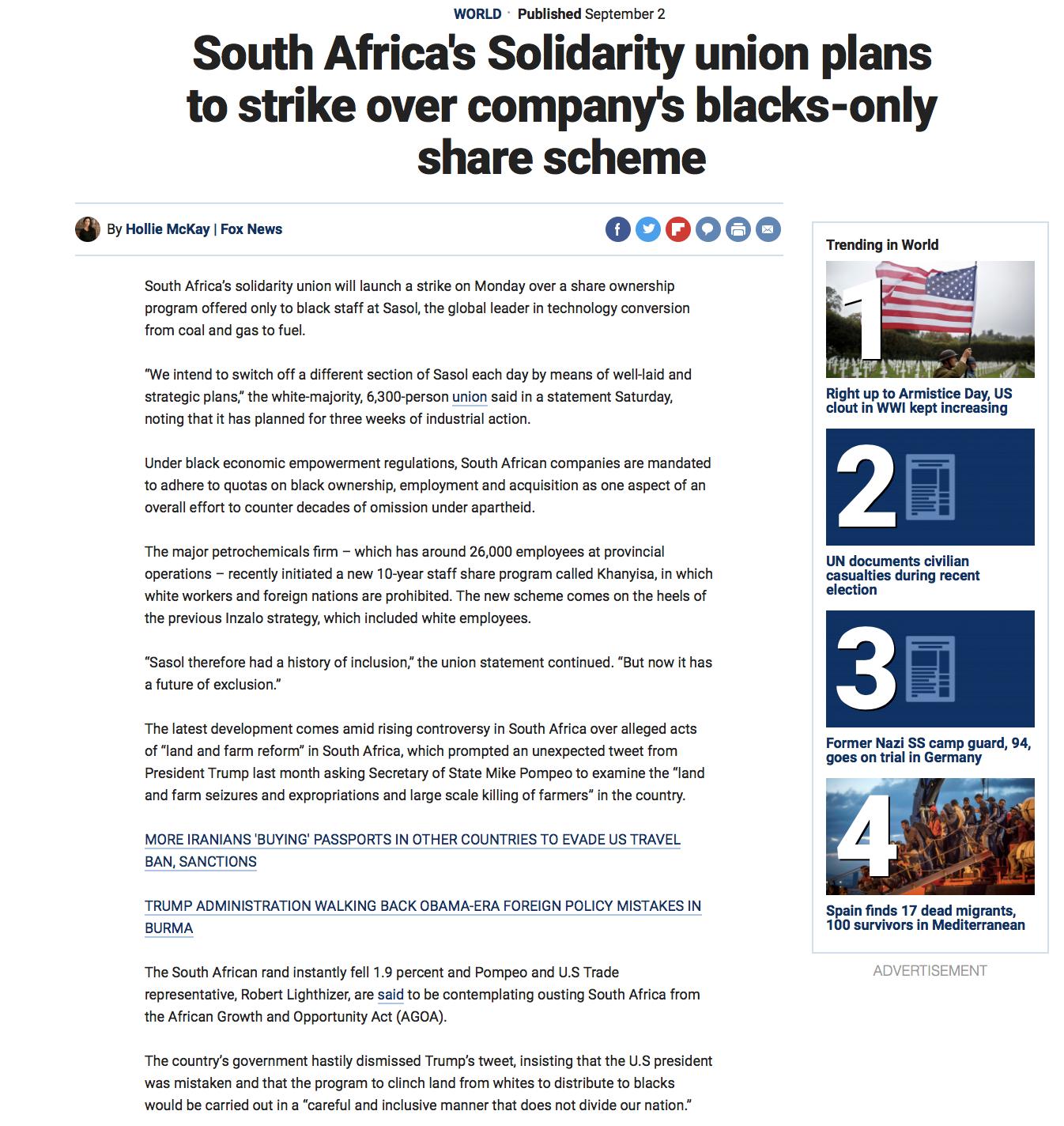 Tony schiena / Donald trump / South Africa