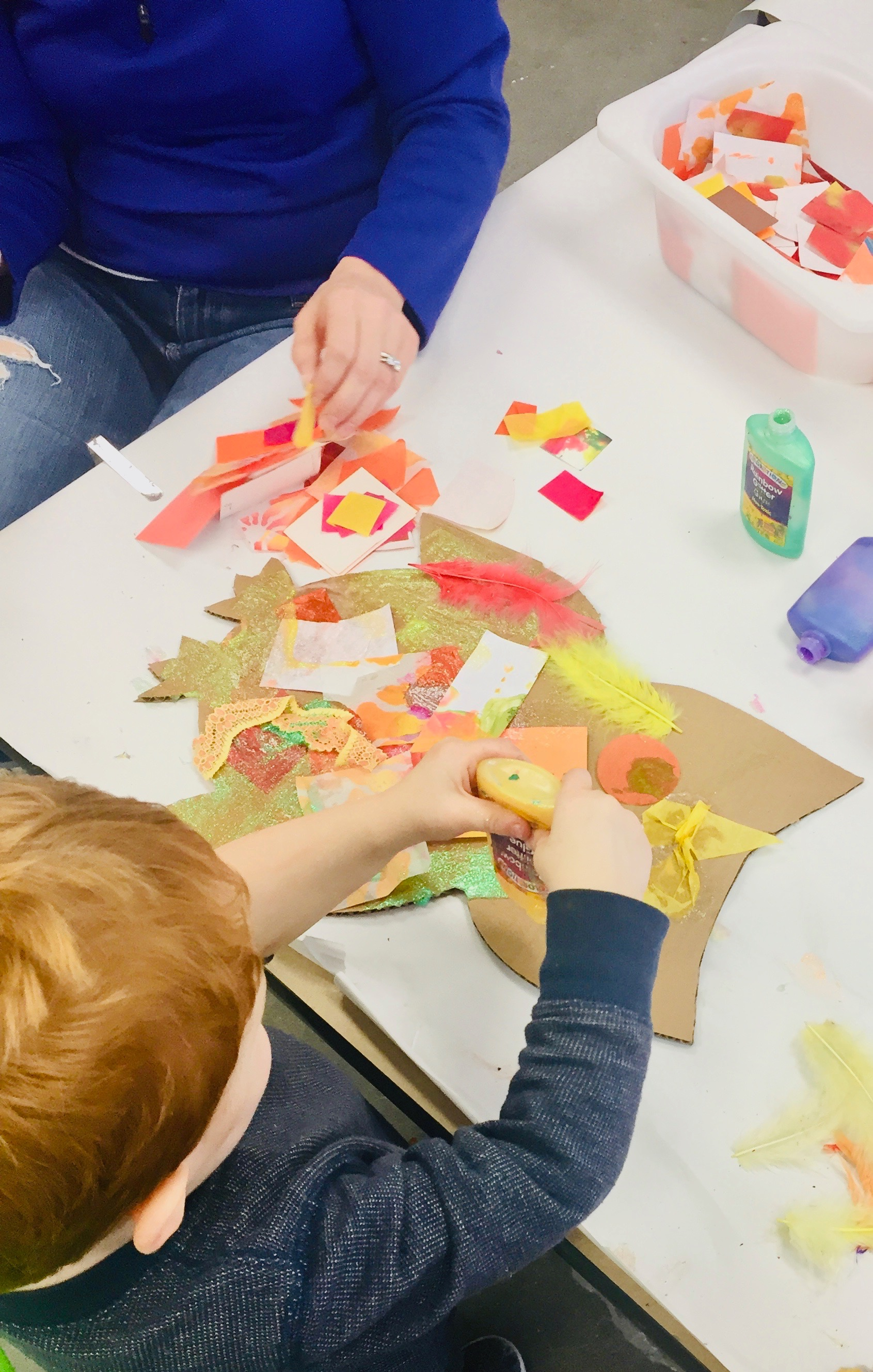 Owl preschool mixed media art using collage materials and  glitter glue