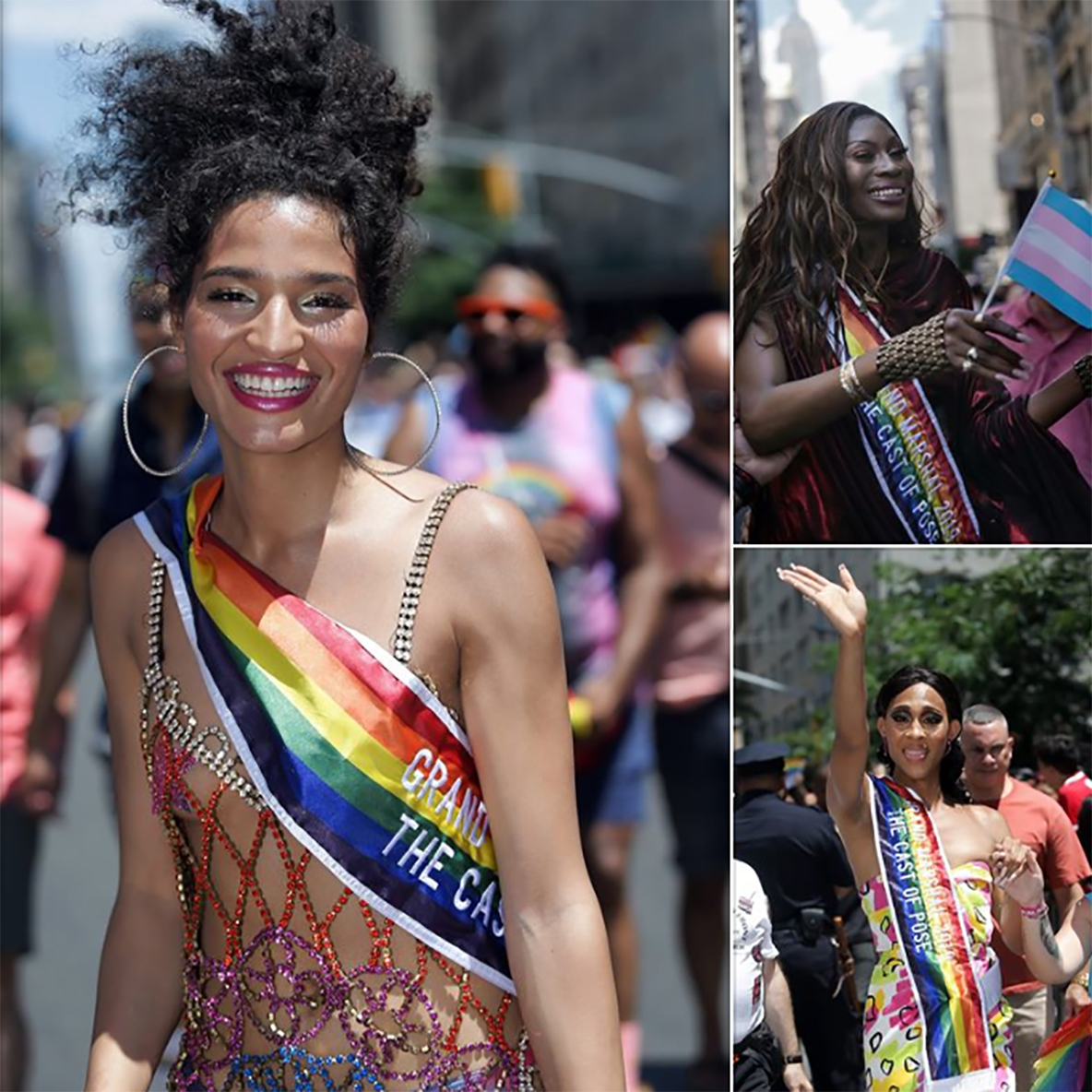 World Pride NYC - ndya Moore, Dominique Jackson, & Mj Rodriguez from FX television series Pose, grand marshalls of the Pride Parade 2019