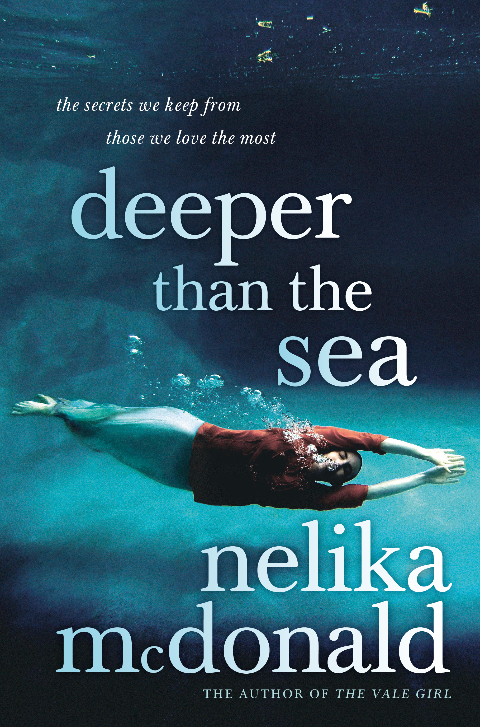 Deeper than the Sea - Pan Macmillan, 2017It's always been just Beth and her mother Theo. Until Beth is sixteen years old, and a stranger arrives in their small coastal town - a stranger with a claim that rips apart all Beth knows.What do you do when everything you thought you knew about yourself is based on a lie?In a deeply affecting story that challenges our notions of maternal love, Nelika McDonald examines the myriad ways that love is forged and tempered over years and how fiercely it is defended.Review: Sydney Morning Herald, August 24, 2017