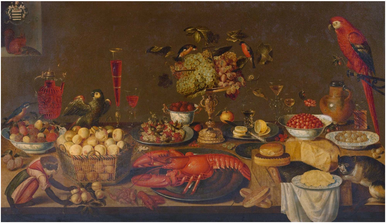 Artus_Claessens_-_Large_banquet_still_life_with_lobster,_fruits,_wine_glasses,_porcelain_and_pewter_plates,_birds,_monkey,_squirrel_and_cat.jpg