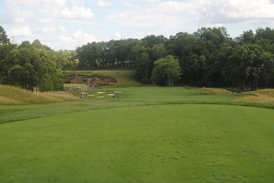 The signature 13th hole at Valhalla from the tee box...my tee shot landed in between those last two bunkers left of the green