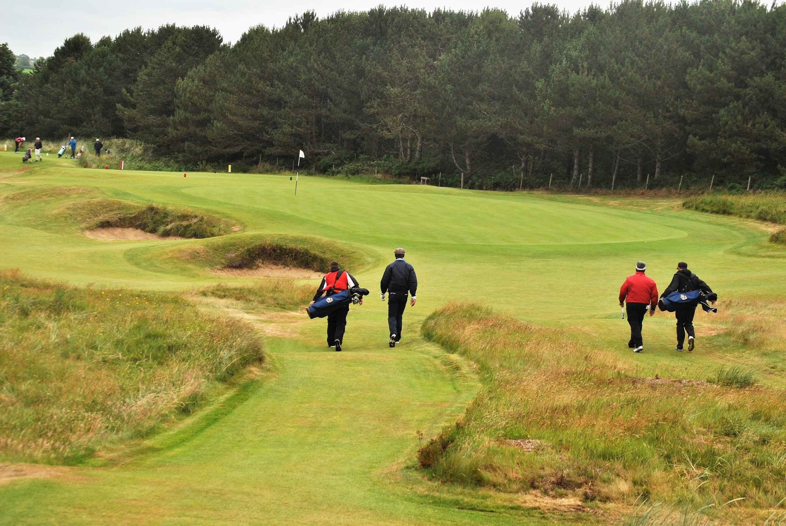 Ciaran and I are on the left and Stewart and Chad are on the right as we walk up to the 14th green