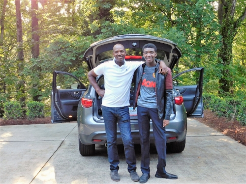 My son and I prepare to drive to Durham