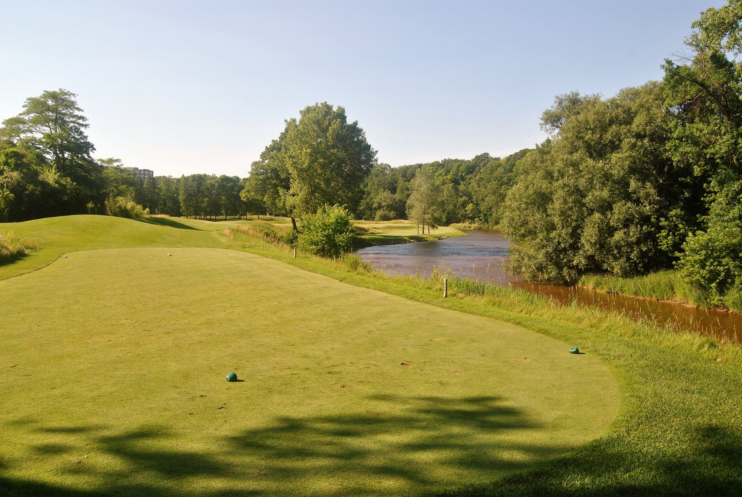 The ninth hole has the river on the left, a pond on the right that you can't see in the picture, and a couple of bunkers in the middle of the fairway
