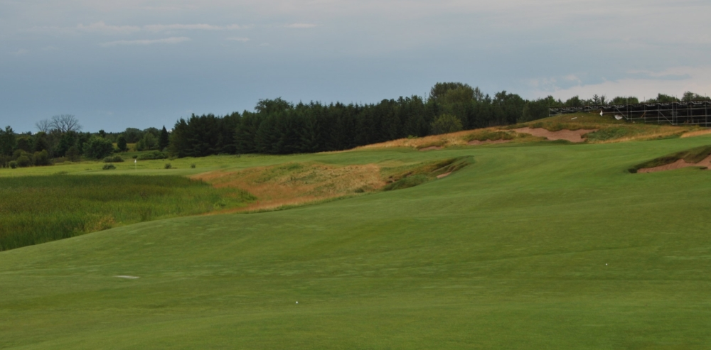 My ball is the one on the right. The flag is 270 yards away on the left over the fescue.