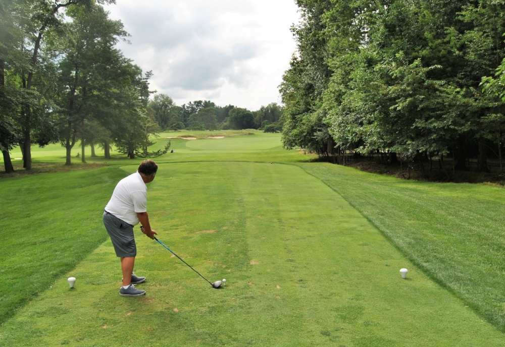 Jim B tees off on the 12th hole