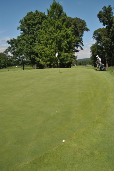 A long par putt for me and a short birdie putt for Beau on the 17th hole.