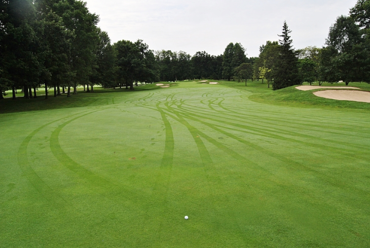 The approach to the fourth green from the fairway.