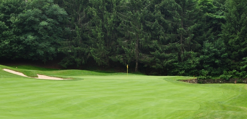 The tenth green, the ball is just to the right of the flag.