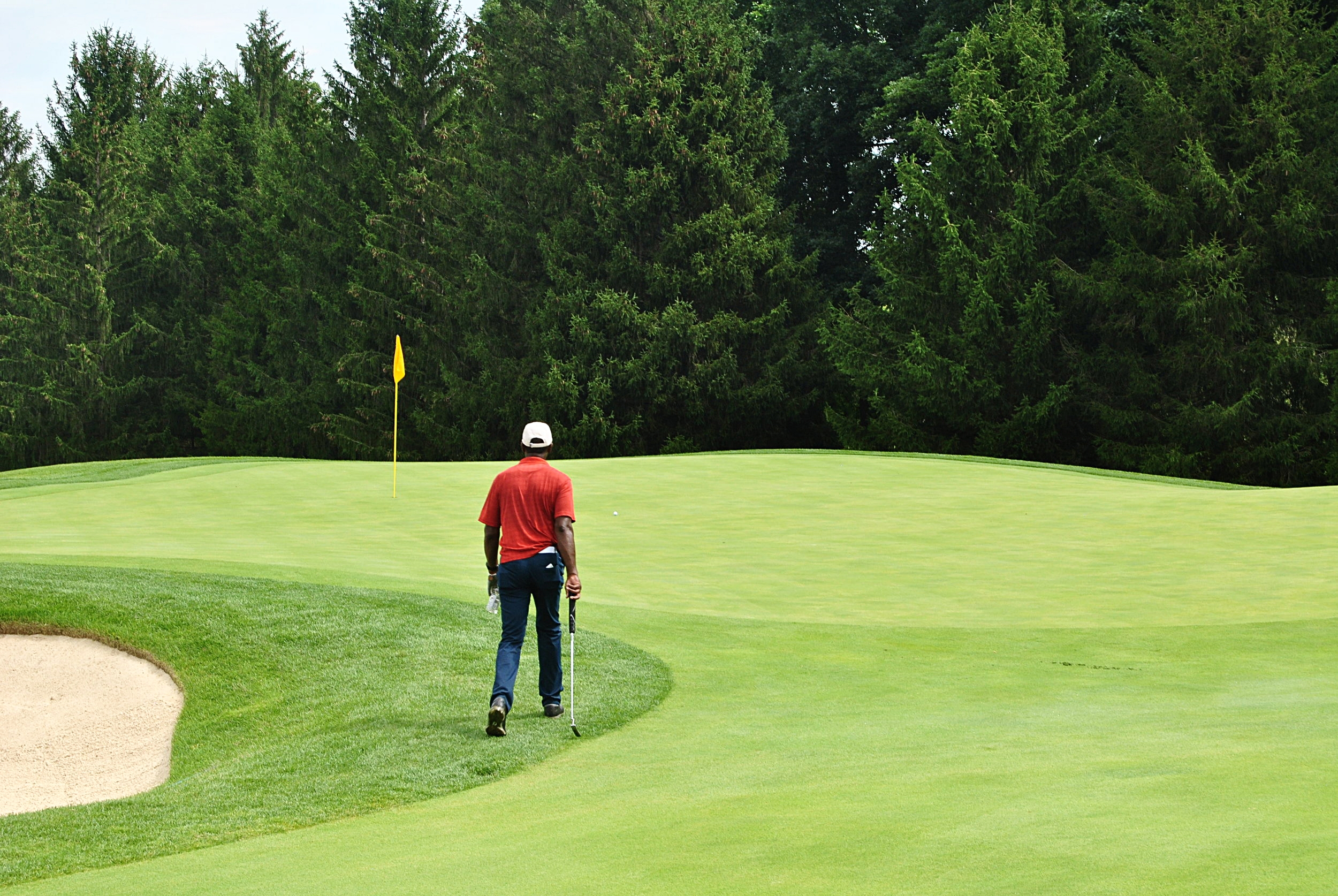 The ball rolled to the right of the flag after landing on the green and is just off my right shoulder.