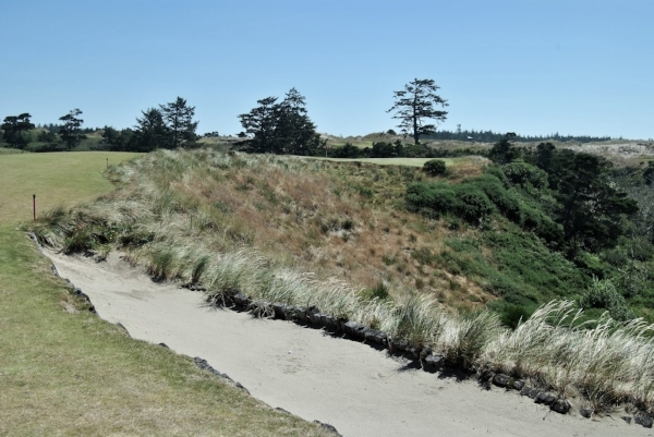 My drive on the 17th hole rolled off the fairway and into the lone fairwaybunker on the hole.