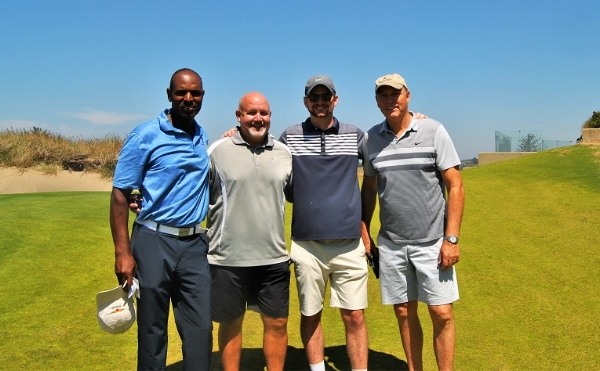With Mark, Tom, and Roy following our round.