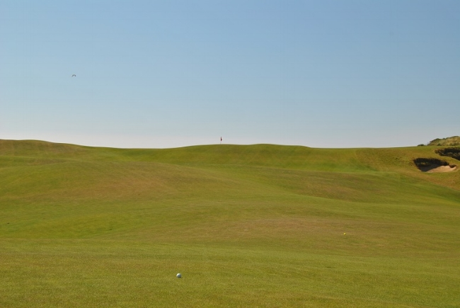 From the seventh hole fairway looking up at the green.