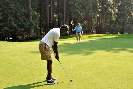 The first of three putts on the fourth hole on the North nine