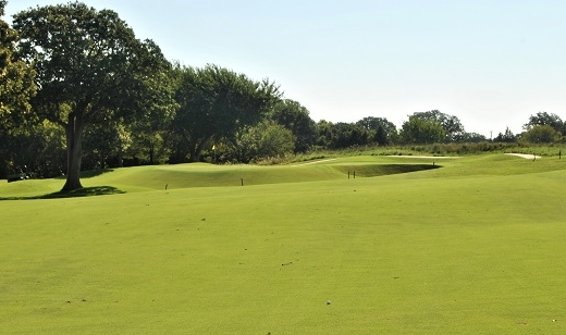 The ball is in the middle of the fairway for my approach shot to the sixth green.