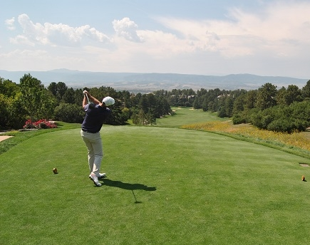 Zack hit his drive on the breathtaking first hole.