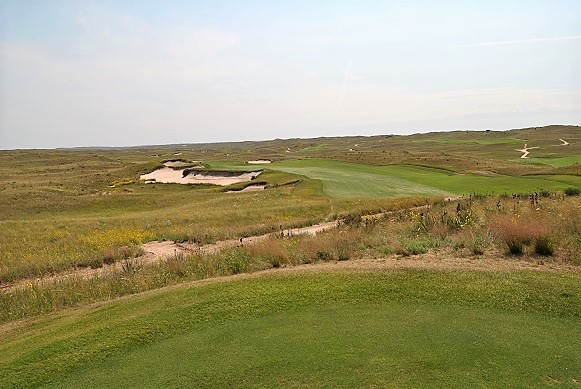 The long and challenging sixteenth hole.