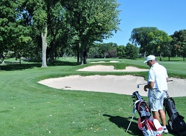 My ball is in the front left portion of the first bunker.