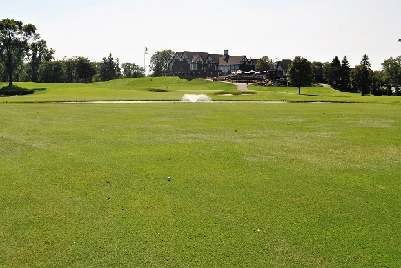 My drive on the 9th hole was my best drive of the round allowing me to go for the green in two.