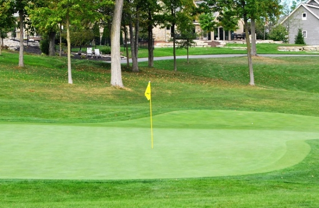 The ball is in the area right off the front of the green.