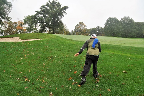 Rudy clears the leaves from around my ball.