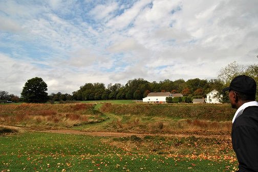 Looking out at the ninth hole. The fairway is beyond the fescue.