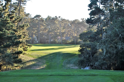 The fairway turns to the right past the trees.