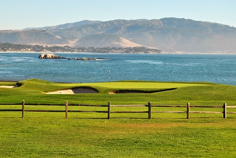 The view from the lobby at the lodge is of the 18th hole at Pebble.