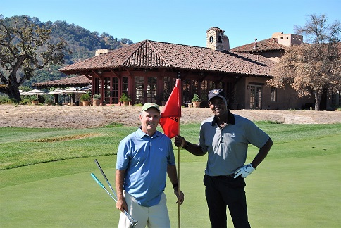 With Bob on the 18th green.
