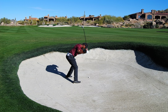 This was by far the my best 8 iron shot ever out of a fairway bunker.