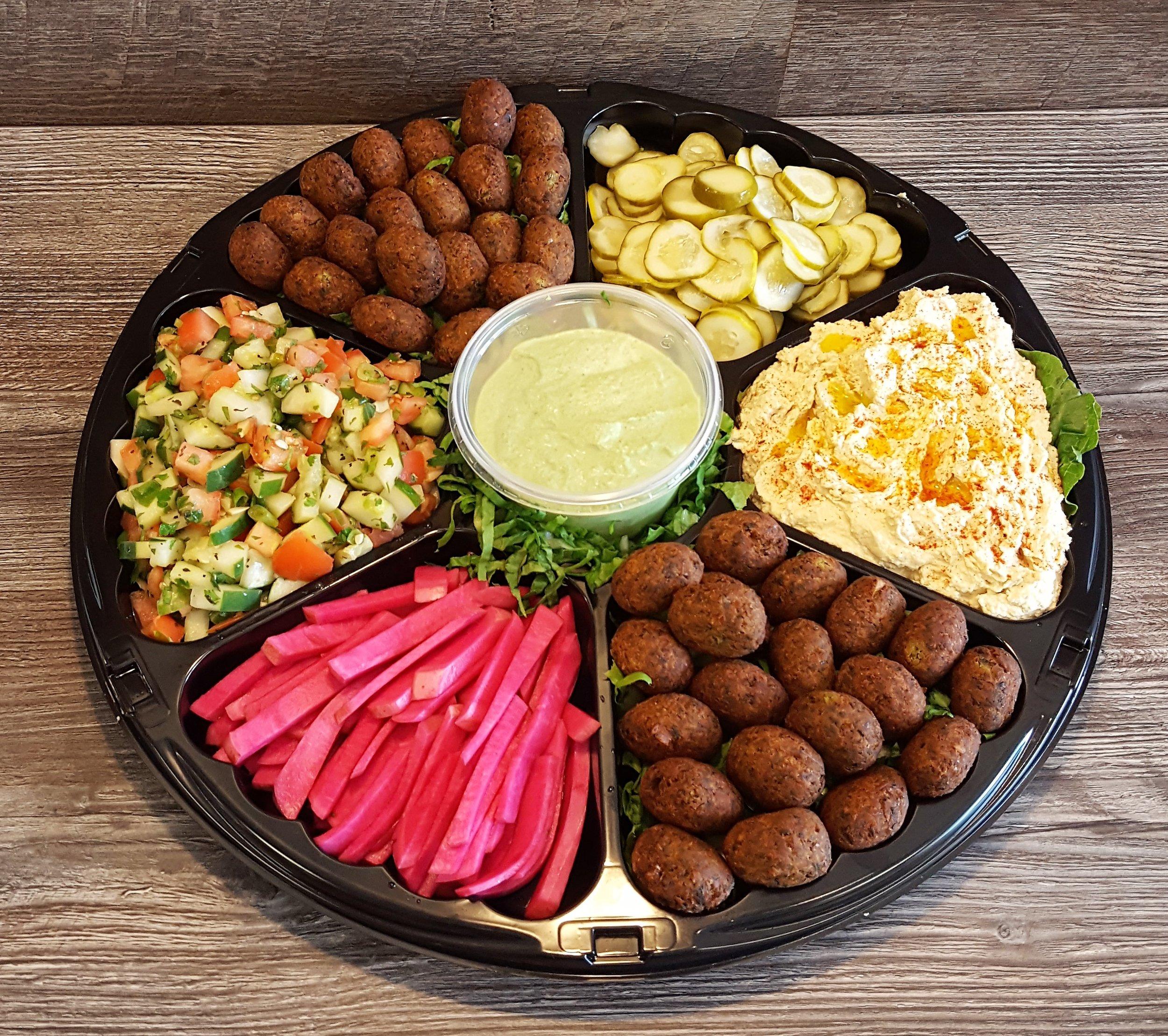 Falafel platter hummus babaganoush lebanese salad turnip pickle.jpg
