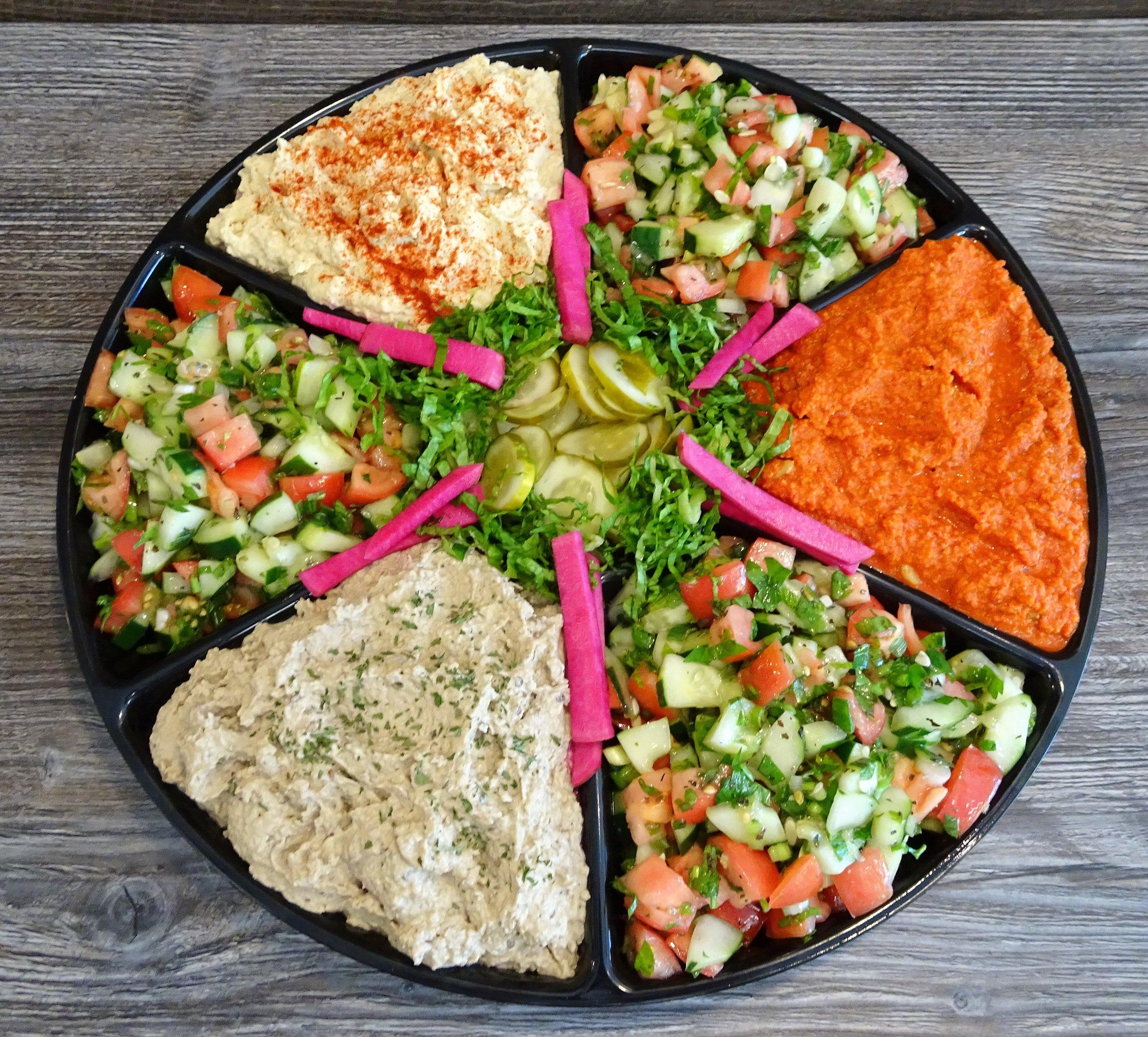 Mediterranea platter babaganoush hummus mjammara lebanese salad pickles (2).JPG