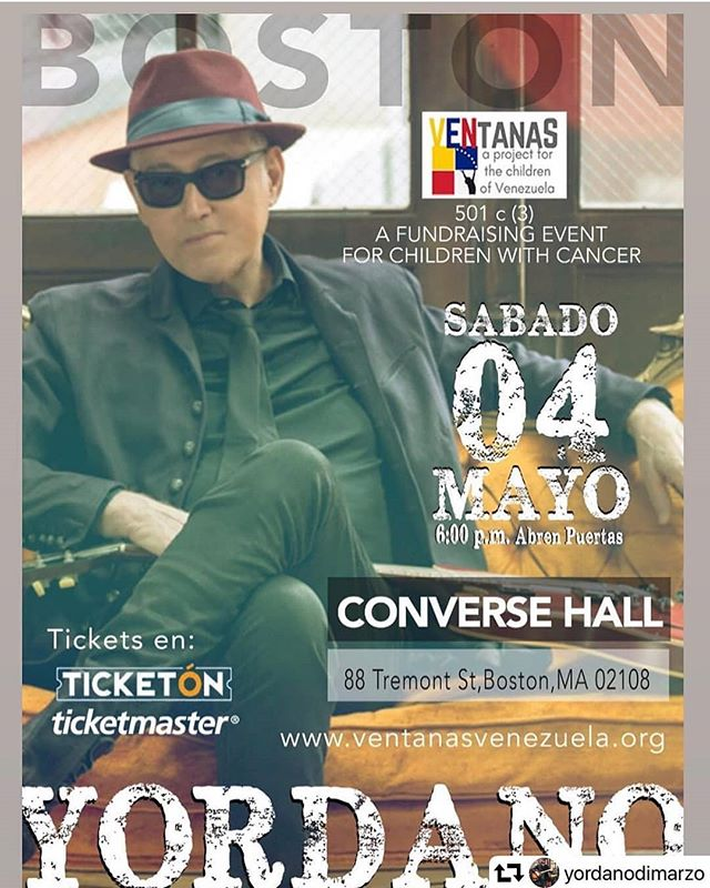 Yordano in Boston🎶🇻🇪 A concert for a noble cause.  let's help @ventanasvzla make a long lasting difference in the life of ill children in Venezuela.  Un concierto por una noble causa.  Ayuda a Ventanas Venezuela a mejorar la vida de nuestros niños Venezolanos que están sufriendo aún más en las conduciones actuales del pais.  RIEGA LA VOZ. #newtonmass #newtoncenter #bostonfoodies #bostonfoodlife #comidavenezolana #venezuelansinboston #venezolanosboston #venezolanosenelextranjero #venezuelanfood #venezolanosboston17 #venezolanosenmassachusetts #boston #bostonconcerts