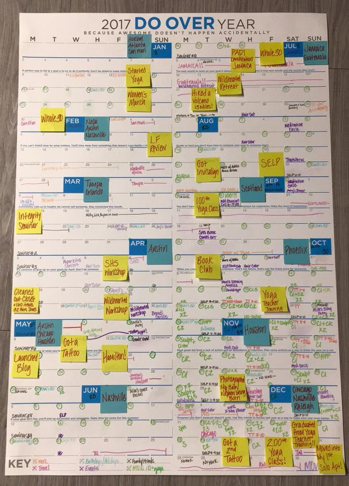 My Year of Action documented on  Jon Acuff's  2017 Do Over Calendar.