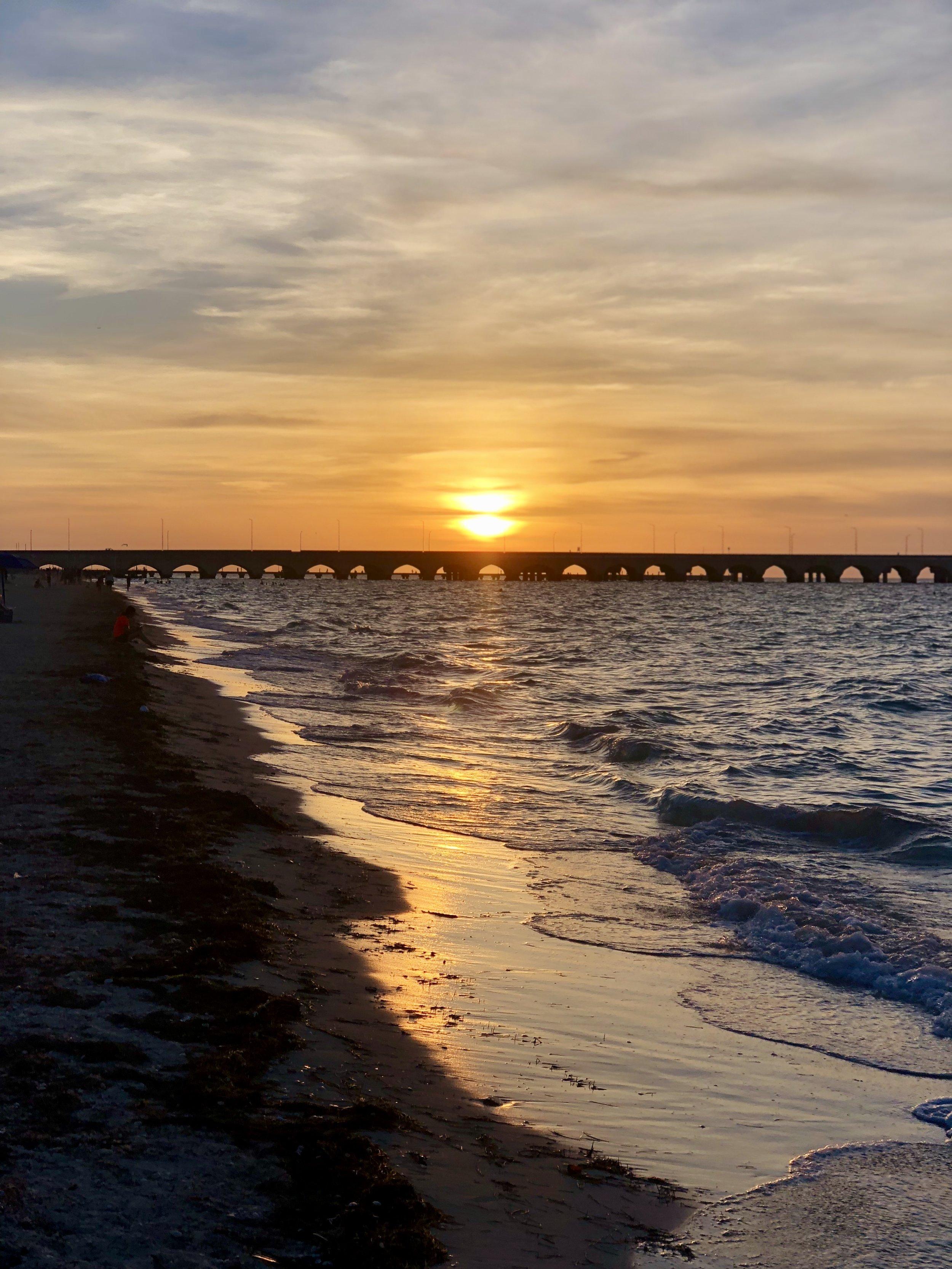 Sunset on Progresso beach near Mérida