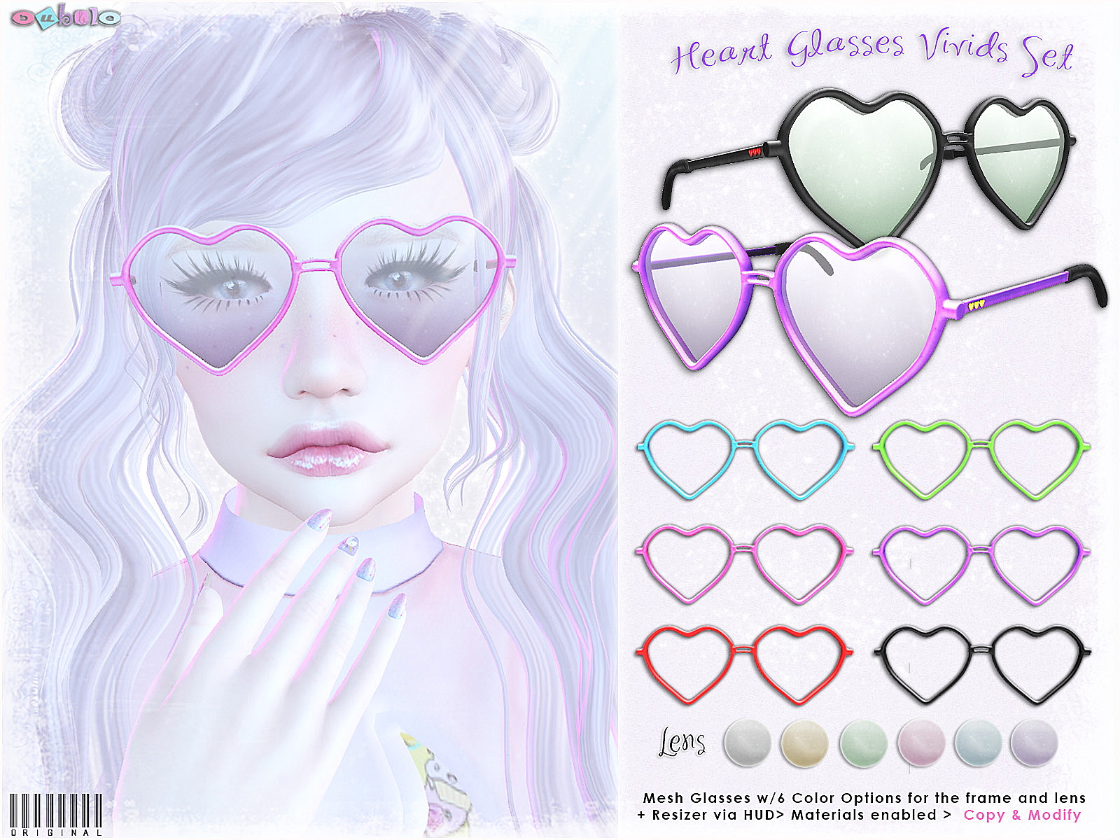 Bubble - Heart Glasses Set