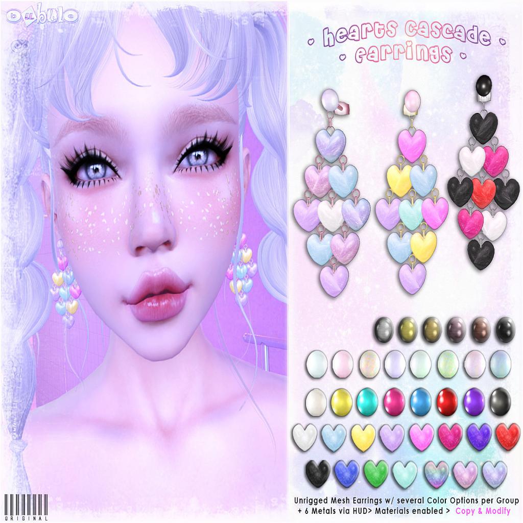 [ bubble ] Hearts Cascade Earrings AD.png