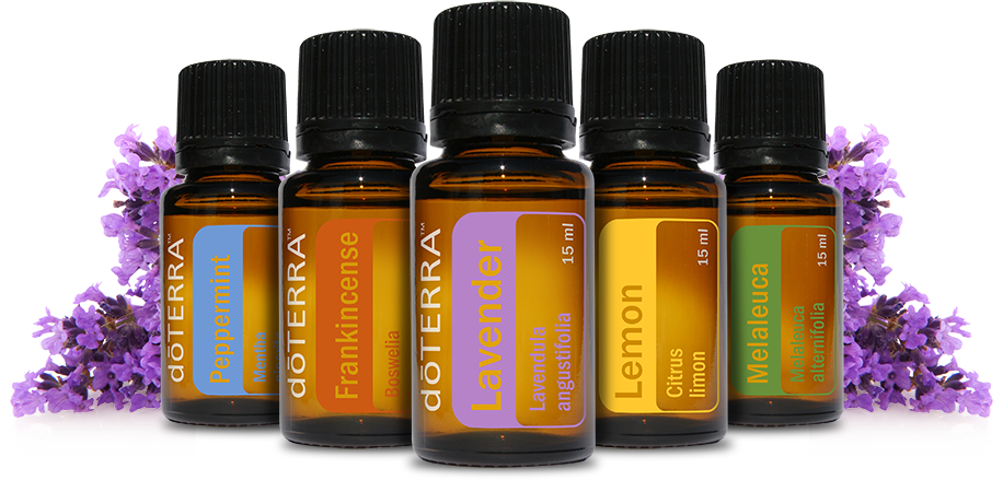 The five most popular starter oils from doTerra! Pictured from Left to Right: Peppermint, Frankincense, Lavender, Lemon and Melaleuca (or Tea Tree Oil)