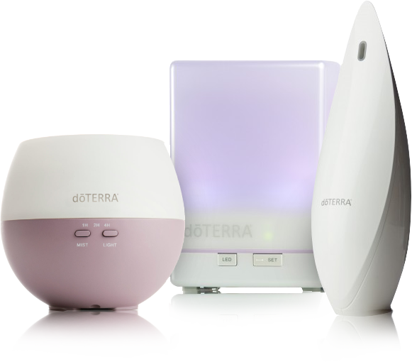 Some of doTerra's diffusers. From left to right: The Petal, The Aroma Lite, and the Lotus ultrasonic diffusers.