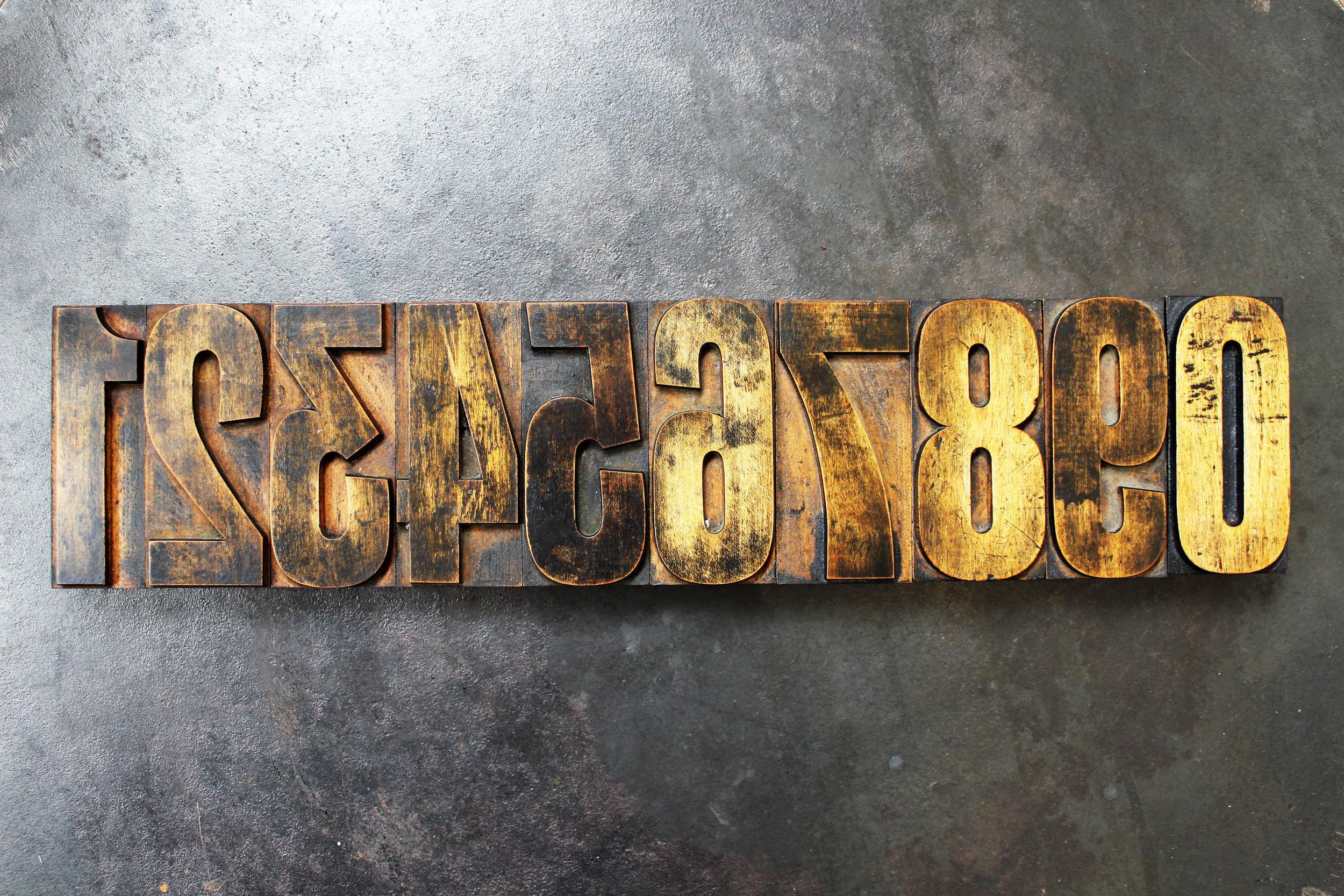 Printer's Type Wooden Number Set