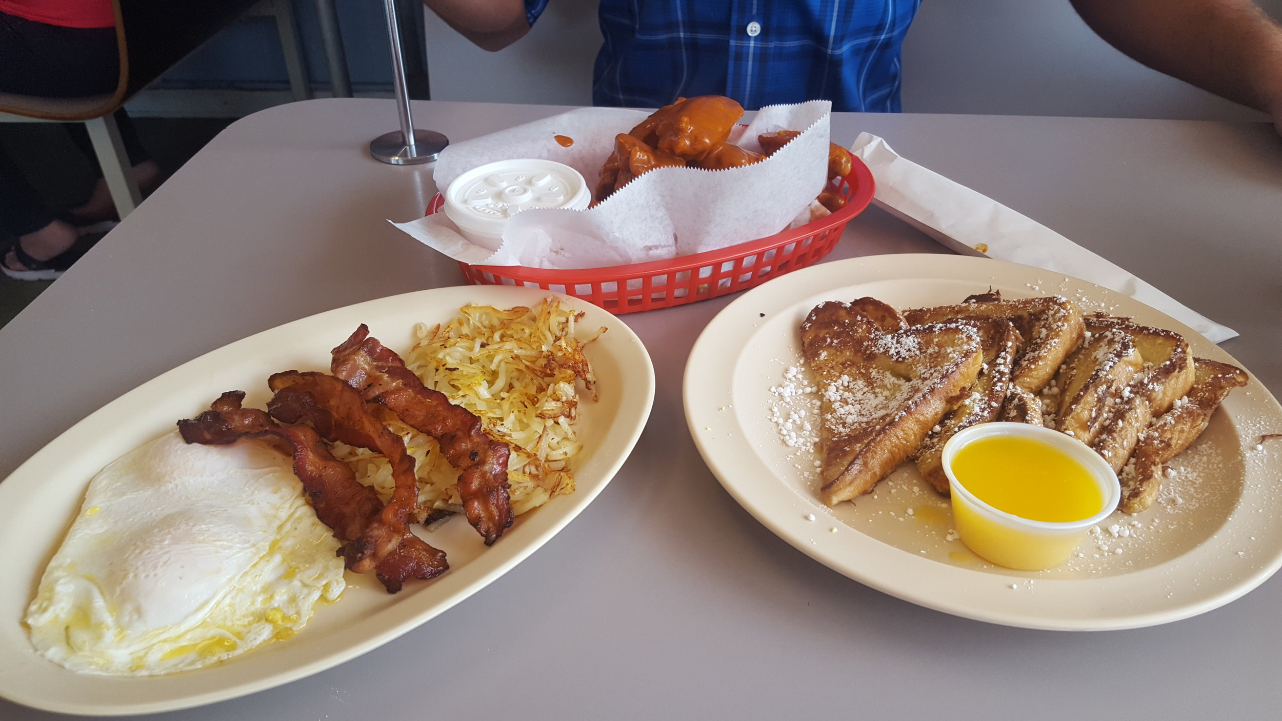 My Brunch spread (I did share the wings, I swear!), Jon's came moments later.