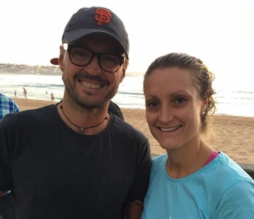 Nicky and Cae before Cae's most recent international swim in 2017.